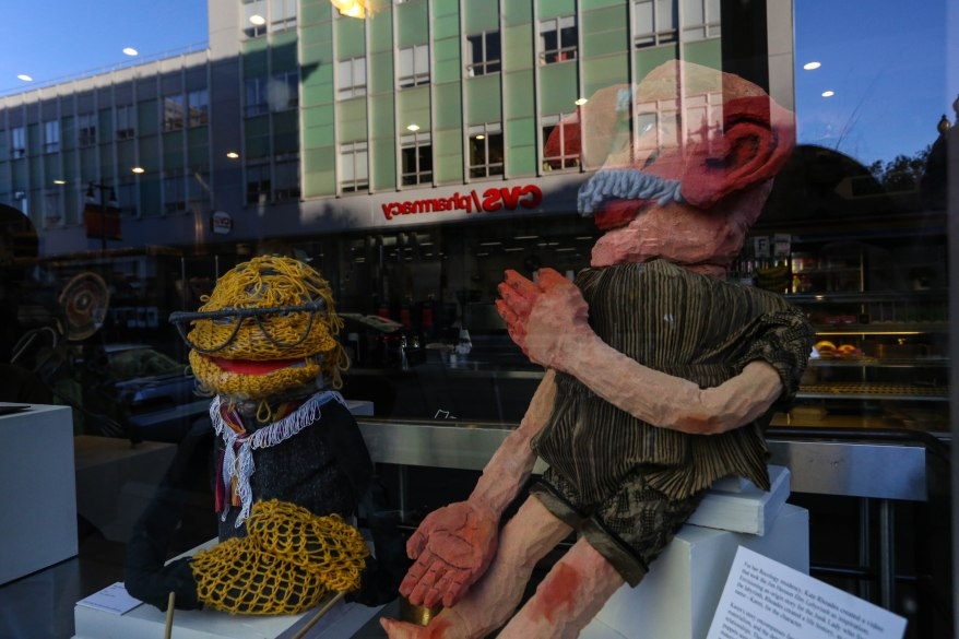 Kate Rhoades' puppets, which were used to create a video based on Jim Henson film Labyrinth, are displayed at Home Skillet.