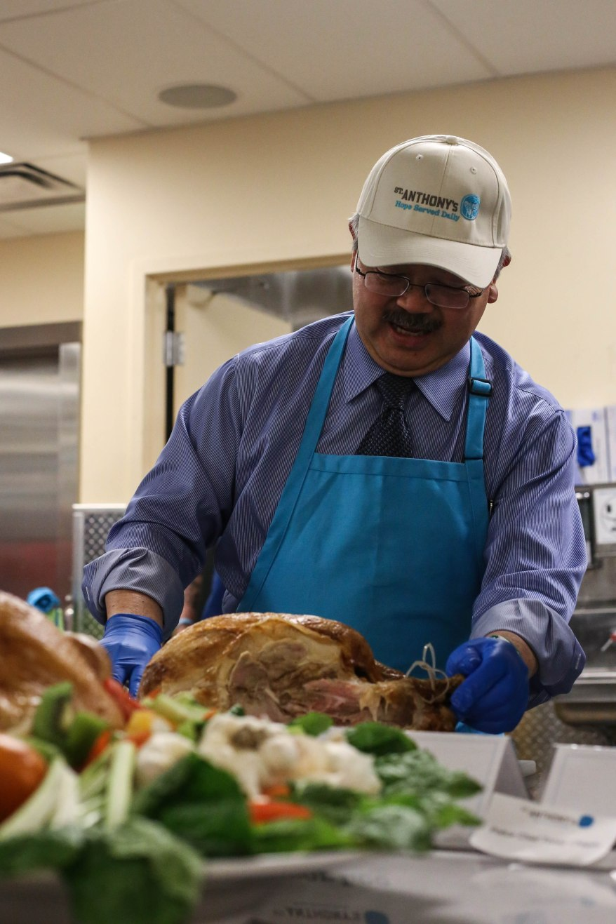 Mayor Lee is among the many volunteers who came out on Wednesday, Nov. 23, to help St. Anthony's chefs put the finishing touches on over 3,500 Thanksgiving Day meals that served the homeless community in Mid-Market.