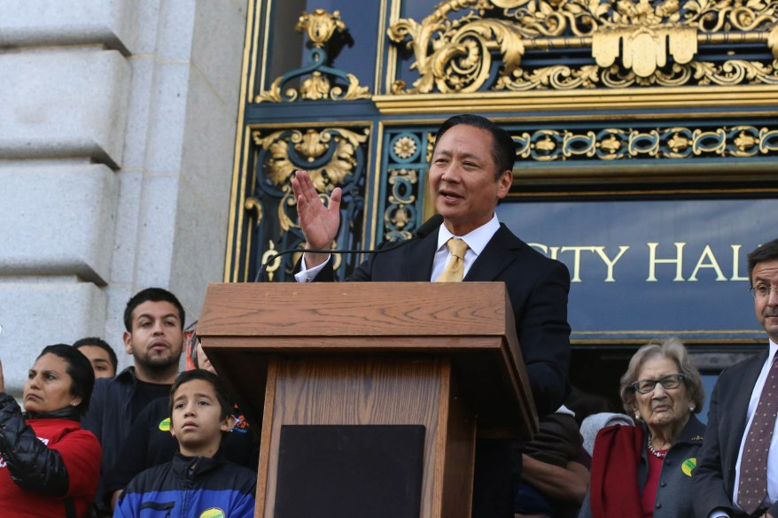 "We can't wait...we have to act now!"" Jeff Adachi. He was one of the many speakers at the Sanctuary City press conference."