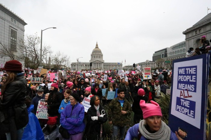 Thousands of people protest at the Women's March in San Francisco on Saturday, January 21, 2017.