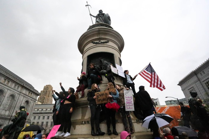 Thousands of people gather at Civic Center for the Women's March in San Francisco on Saturday, January 21, 2017.