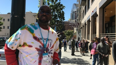 St. Anthony's longtime security guard Chuck Burks made a bet with Tenderloin non-profit leader Del Seymour that if the Warriors won the finals, Seymour — an outspoken Cavs fan — would have to wear Warriors gear.